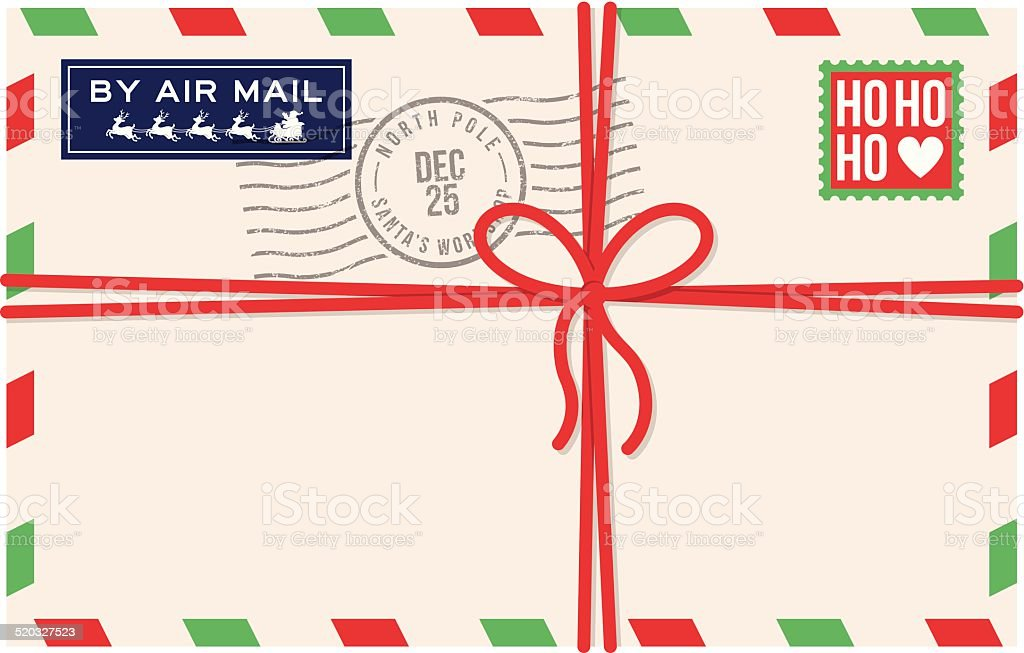 Christmas Air Mail letter from Santa vector art illustration