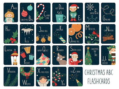 Christmas alphabet cards for children. Cute cartoon ABC set with Santa Claus, deer, elf, present. Funny New Year flashcards for teaching reading or phonics for kids. English language letters pack