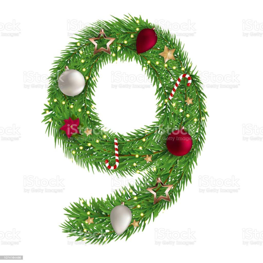Christmas Alphabet.Christmas Alphabet Number 9 Vector Illustration Stock