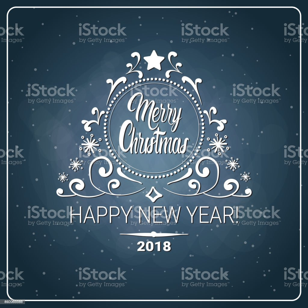 christmas and 2018 new year flyer message chalk board background holiday logo design royalty free
