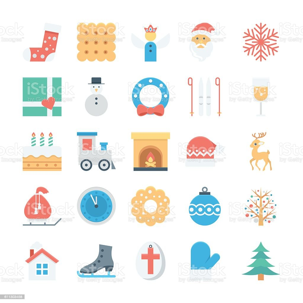 Christmas and Easter Colored Vector Icons 3 vector art illustration