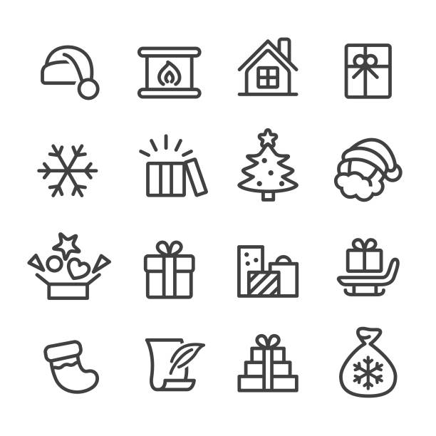 Christmas and Gifts Icons - Line Series Christmas, Gifts, christmas icons stock illustrations
