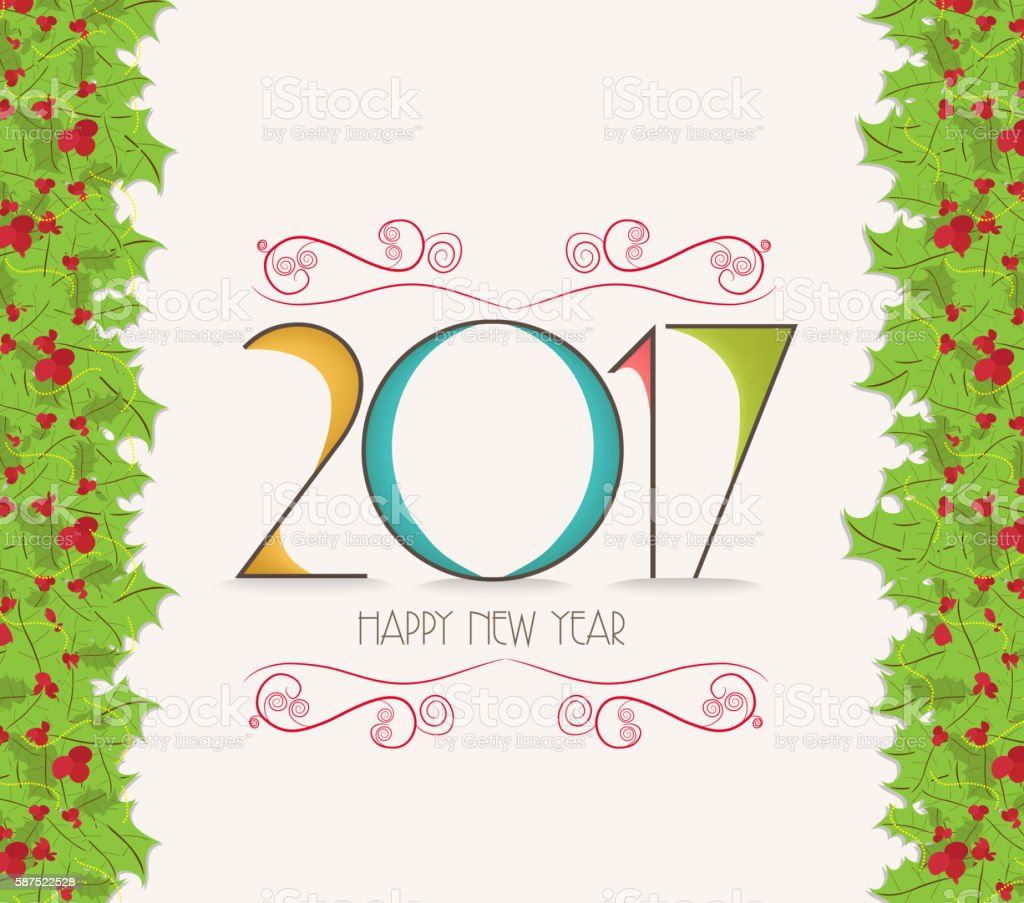 christmas and happy new year 2017 holly border royalty free christmas and happy new