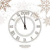Christmas and Happy New Year background with clock. Vector.