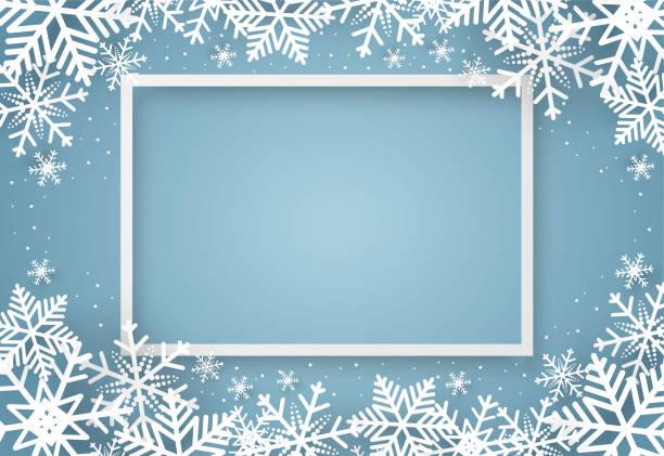 bildbanksillustrationer, clip art samt tecknat material och ikoner med jul och gott nytt år blå vektor bakgrund med snowflake, firande koncept, papper konst design - christmas frame
