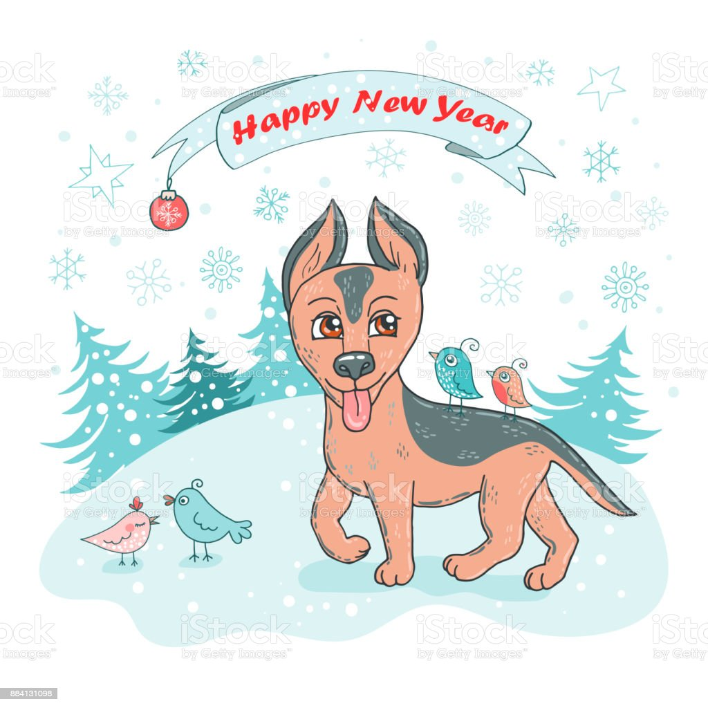 christmas and happy new year card with cute dog breed german shepherd puppy and bird royalty