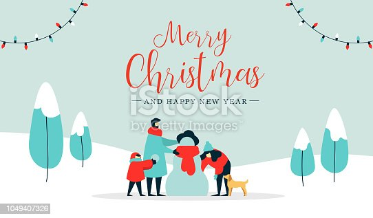 Merry Christmas happy new year winter illustration, family with kid and dog making snowman on snow landscape background. Modern people holiday design for xmas season.