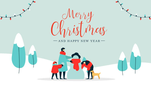 Christmas and happy new year family wintertime card Merry Christmas happy new year winter illustration, family with kid and dog making snowman on snow landscape background. Modern people holiday design for xmas season. snowman stock illustrations