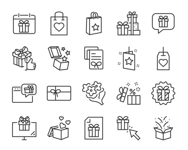 christmas and happy new year gift icons - surprise stock illustrations