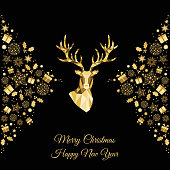 Christmas and  Happy New Year golden  background. Gold Xmas head of  reindeer and  snowflakes. Vector template  for greeting  card.