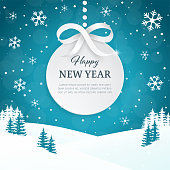 Christmas and Happy New Year greeting card background with snowflakes. Winter scene landscape background with falling snow. Xmas ball with the silver bow and ribbon. Paper 3d label. Vector.