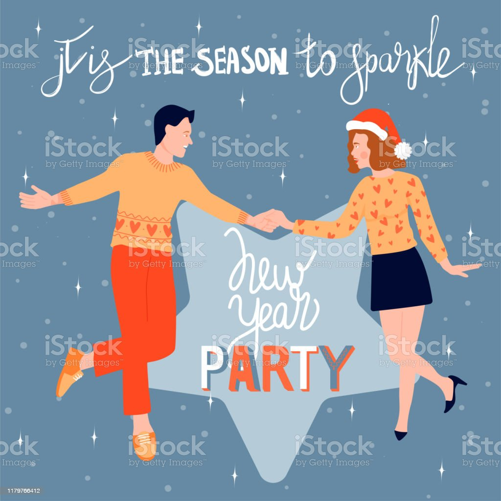 Christmas And Happy New Year Greeting Card With Dancing