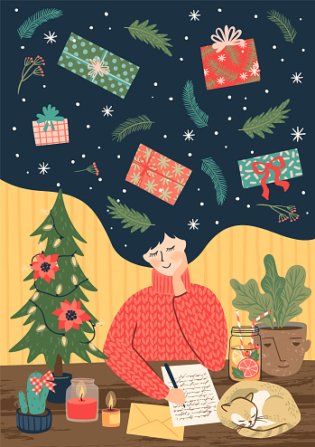 Christmas and Happy New Year illustration with cute woman. clipart