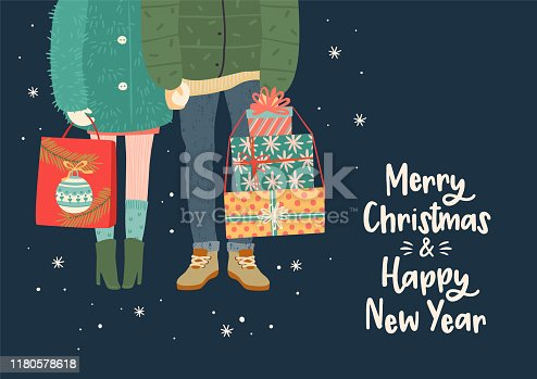 Christmas and Happy New Year illustration with romantic couple with gifts. Trendy retro style. Vector design template.