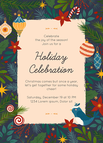 Christmas and Happy New Year party invitation template