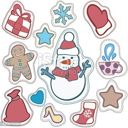 Christmas And Happy New Year Patch Badges - Stockowe grafiki wektorowe i więcej obrazów Bałwan śniegowy 620370200