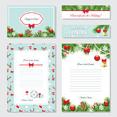 Christmas Templates Set. Greeting cards, Banners, Letters from Santa Claus, labels and stickers