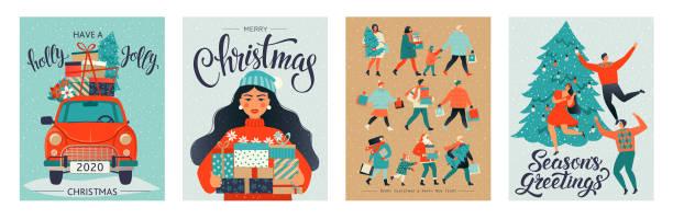 ilustrações, clipart, desenhos animados e ícones de moldes do natal e do ano novo feliz. estilo retro na moda. elemento do projeto do vetor. - carro mulher