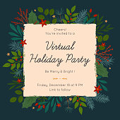 istock Christmas and Happy New Year virtual party invitation template during covid 19 1288162390