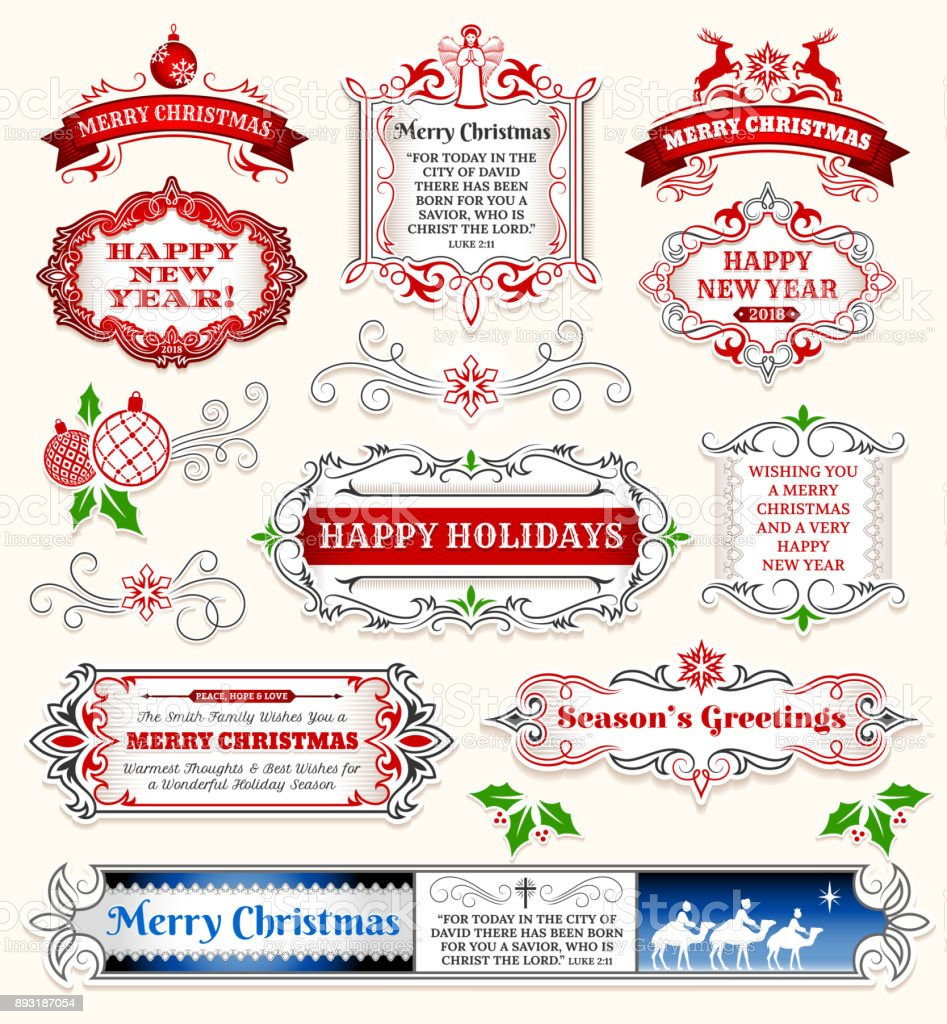 Christmas And Holiday Banners Badges Set Stock Vector Art & More ...