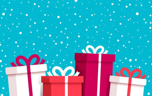 illustrazioni stock, clip art, cartoni animati e icone di tendenza di regali di natale e festività neve sfondo invernale - regalo natale