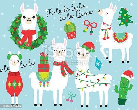 Cute llama and alpaca with Christmas holidays theme. Llama wearing Santa hat and sweater, carrying Christmas gifts. Llama with Christmas wreath and light. Cactus with Santa hat.