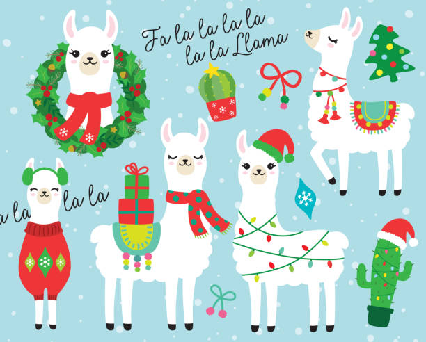 christmas and holidays llama and alpaca vector illustration - christmas background stock illustrations
