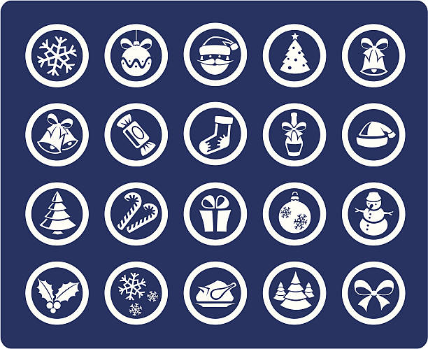 Christmas and New Year 20 icons (set #01) vector art illustration
