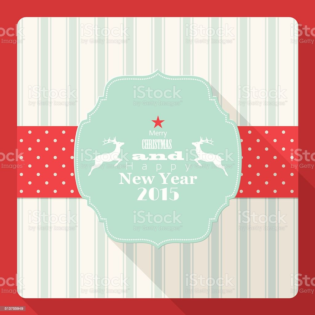 Christmas And New Year 2015 Greeting Card With Reindeer Stock Vector