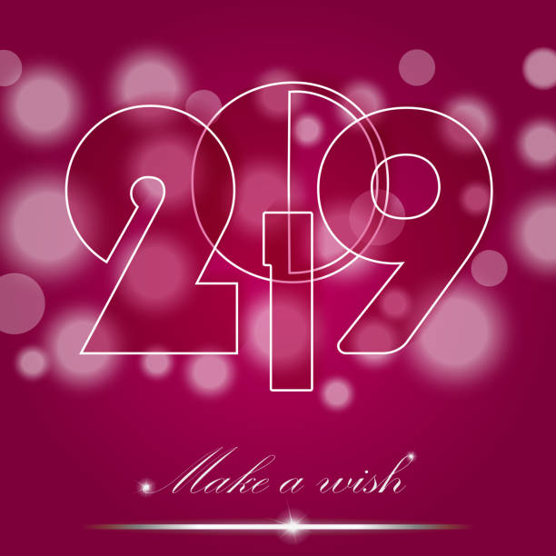Christmas and New Year 2019 card on pink ambient background. Make a wish concept. Invitation design. Vector illustration vector art illustration