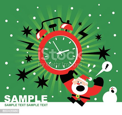 istock Christmas and New Year Are Coming, Santa Claus, Snowman and Huge Alarm Clock Ringing, Radial Rays (Stripes) Background 850405680