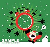 Christmas and New Year Are Coming, Santa Claus, Snowman and Huge Alarm Clock Ringing, Radial Rays (Stripes) Background