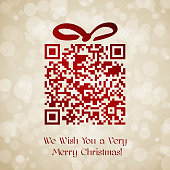 Christmas and New Year background with QR code