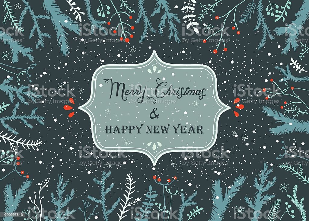 Christmas And New Year Background vector art illustration
