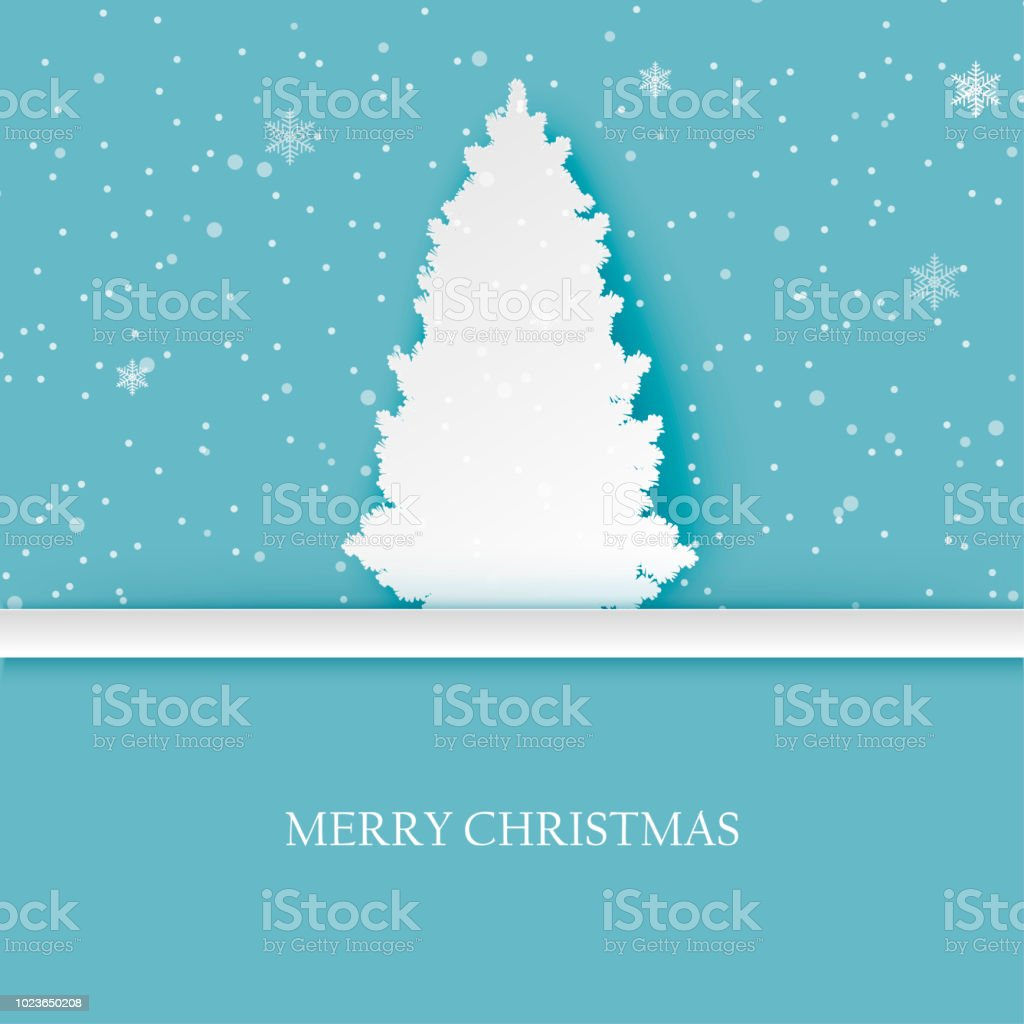 christmas and new year background with paper pine tree and snowflakes in pastel colors modern