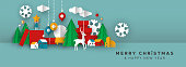 Christmas and New Year banner of papercut toy city