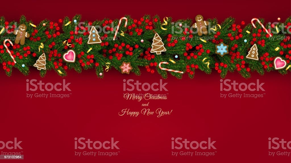 christmas and new year banner of realistic branches of christmas tree holly berries christmas