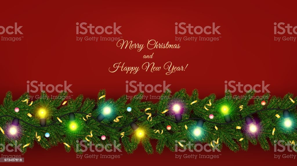 christmas and new year banner of realistic branches of christmas tree garland royalty free