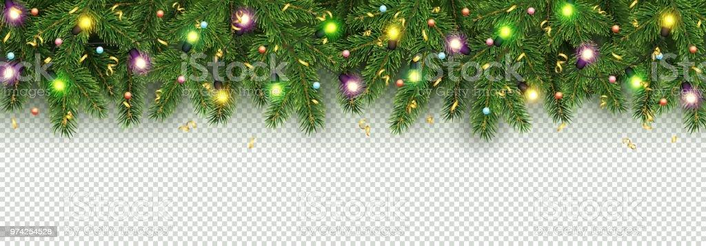 Kerstmis en Nieuwjaar banner van realistische takken van de kerstboom, garland met gloeiende gloeilampjes, holly bessen, serpentinevectorkunst illustratie