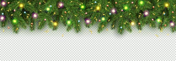 christmas and new year banner of realistic branches of christmas tree, garland with glowing light bulbs, holly berries, serpentine - light through trees stock illustrations