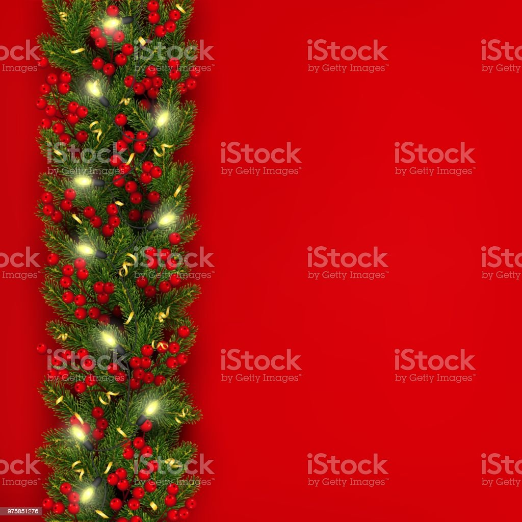 christmas and new year banner of realistic branches of christmas tree garland with glowing lightbulbs
