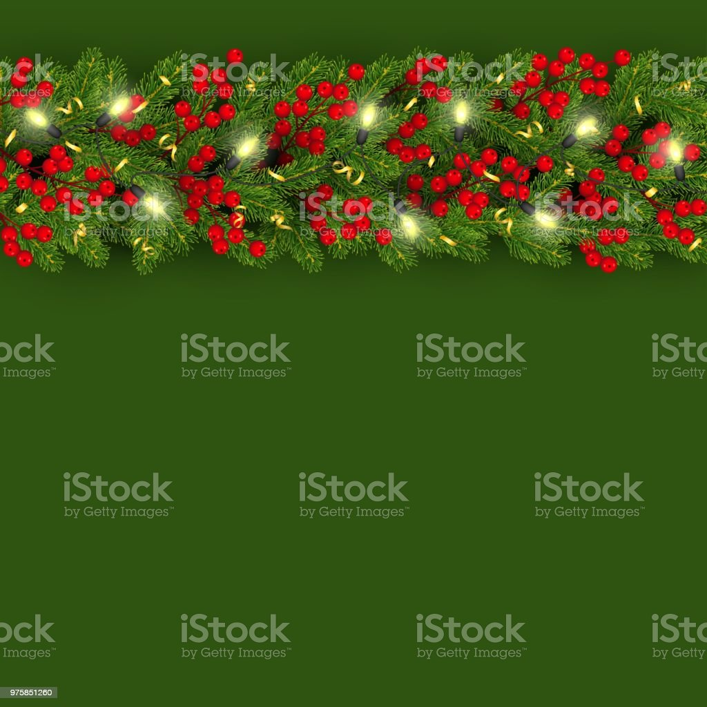 christmas and new year banner template with horizontal border of realistic branches of christmas tree and