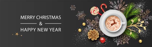 ilustrações de stock, clip art, desenhos animados e ícones de christmas and new year banner - christmas table