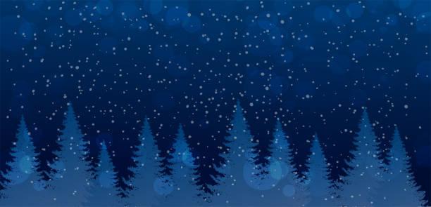 weihnachten und neujahr banner mit platz für text. winter-nachtwald mit fallendem schnee. netter und magischer dunkelblauer wald mit weihnachtsbäumen. flat stock vektor design - schneefall stock-grafiken, -clipart, -cartoons und -symbole
