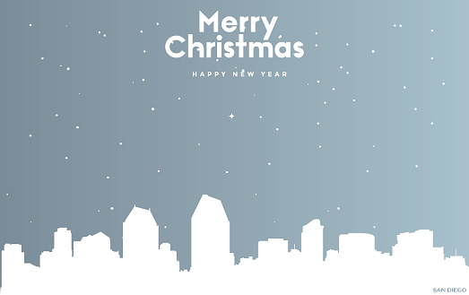 Christmas and new year blue greeting card with white cityscape of San Diego
