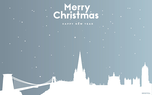 Christmas and new year blue greeting card with white cityscape of Bristol