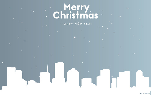 Christmas and new year blue greeting card with white cityscape of Houston