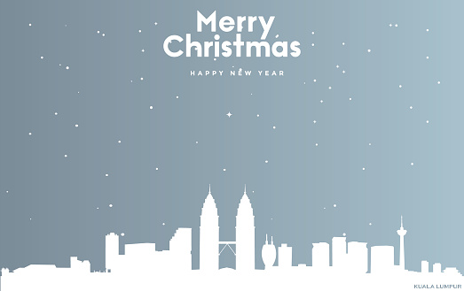 Christmas and new year blue greeting card with white cityscape of Kuala Lumpur