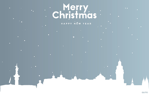 Christmas and new year blue greeting card with white cityscape of Quito