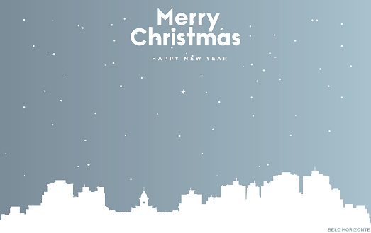 Christmas and new year blue greeting card with white cityscape of Belo Horizonte